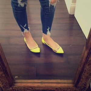 Neon Yellow pointed toe flats